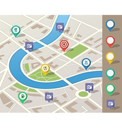 City map with location pins vector