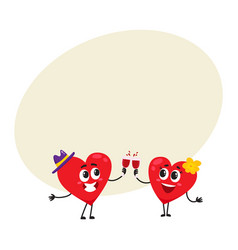two hearts clinking glasses celebrating couple vector image