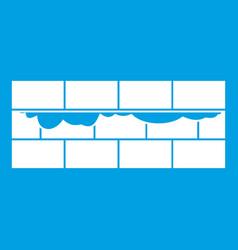 Brick wall icon white vector