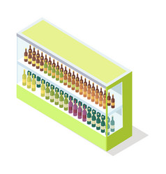 Wine in groceries showcase isometric vector