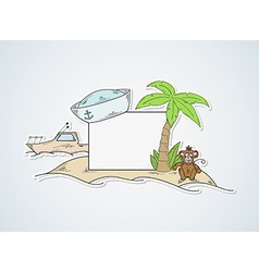 Funny cartoon island with blank paper vector