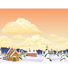 Winter landscape with village and trees vector