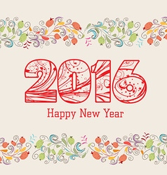 Happy new year 2016 with floral ornament vector