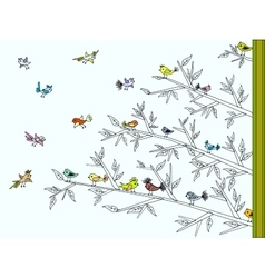 Tree with colorful cute birds vector