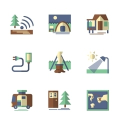 Forest tourism flat icons vector
