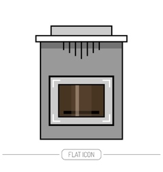 Fireplace stove flat color icon isolated on vector