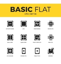 Basic set of cpu icons vector