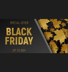 black friday sale web horizontal banners gold vector image vector image