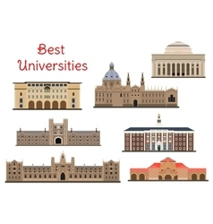 Buildings of popular national universities icons vector