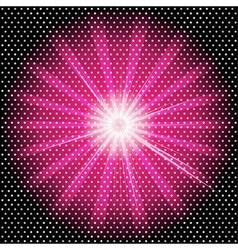 Burst rays dark purple background with halftone vector