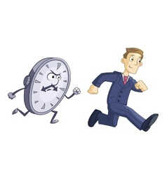 Businessman is running against time vector image vector image
