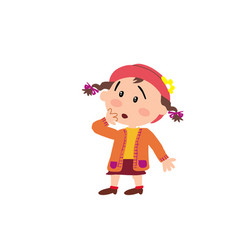 cartoon character girl in surprise vector image vector image