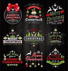 Christmas decoration typography tag and label vector image vector image