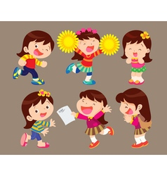 cute cartoon girl many actions vector image