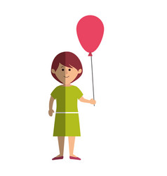 cute little girl character with balloons air vector image