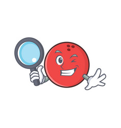 Detective bowling ball character cartoon vector