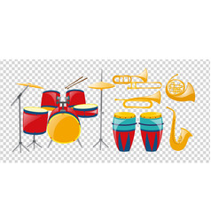 different types of band instruments vector image