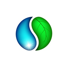 Drop water and leaf plants eco logo vector