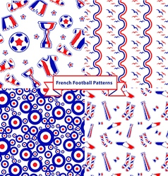 french football set of seamless patterns vector image