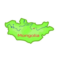 Green map of mongoliamongolia on the world map vector