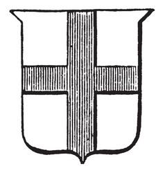 Heraldry cross design on shield vintage engraving vector