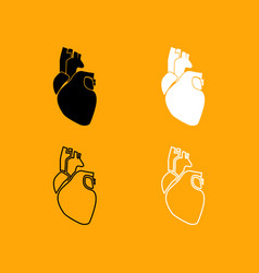 human heart set black and white icon vector image vector image