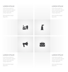 Icon business set of building manufacture vector