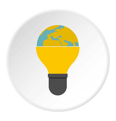 Light bulb and planet earth icon circle vector