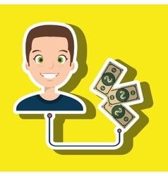 man cartoon bag money dollar vector image