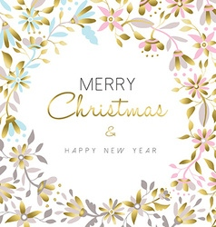 Merry christmas and new year gold floral design vector image