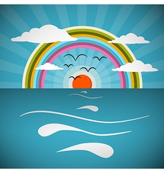 Ocean abstract retro with sun birds rainbo vector