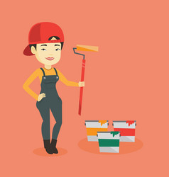 painter holding paint roller vector image vector image