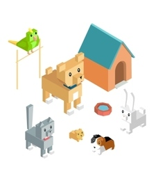 Pets set icon isometric 3d design vector