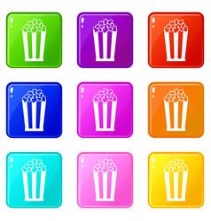 Popcorn in striped bucket set 9 vector