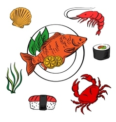 Seafood with fish sushi crab and shrimp vector