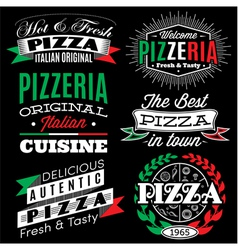 Set of badges with inscriptions for the pizza menu vector