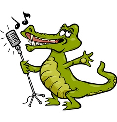 singing crocodile cartoon vector image