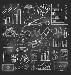 stock market had drawn symbols on blackboard vector image vector image