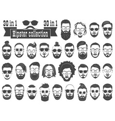 Superset of 30 hipsters bearded men vector