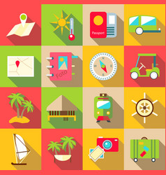 Trip icons set flat style vector