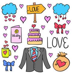 Wedding doodle style vector