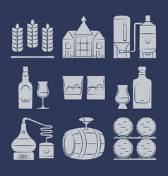 whisky silhouette icons collection on blue vector image