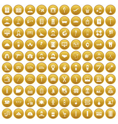 100 craft icons set gold vector