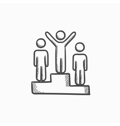 Winners on podium sketch icon vector