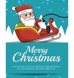 merry christmas card santa sleigh with snow vector image