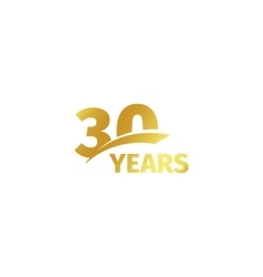 Isolated abstract golden 30th anniversary logo on vector