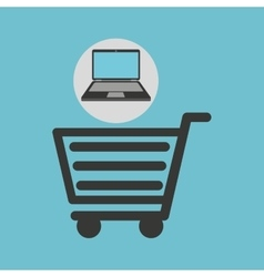 Notebook computer shopping cart market vector