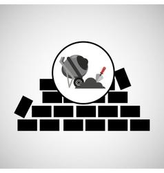 Wall brick concrete mixer design vector