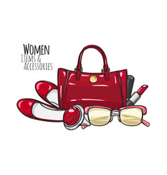 Women items and accessories red female objects vector