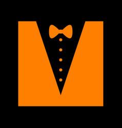 tuxedo with bow silhouette orange icon on black vector image